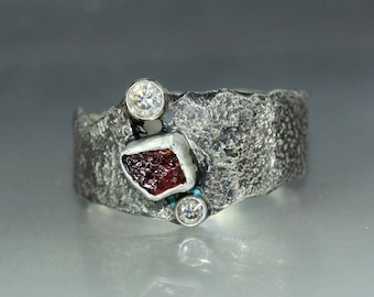 A handmade  Textured Ruby CZ Silver Wedding Band Rustic Organic Mans ring Statement Band
