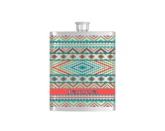 Personalized Aztec Wallpaper Bridesmaid Gift *** FREE FUNNEL INCLUDED ***  - Stainless Steel 7oz Liquor Hip Flask - Flask#49