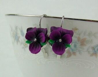 Violet Flower Earrings, Deep Purple Violet Earrings, Pansy Earrings, Violet Earrings, Leverback Pansies, Silver Violet Earrings, Violets