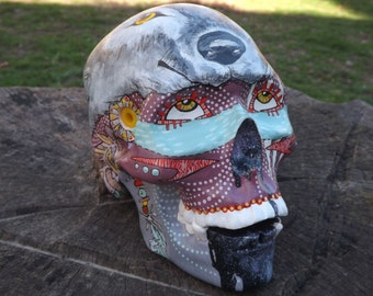 Handmade One of a kind Wolf Indian Tunnels Feather Tattoo Realistic Ink Positive Day of the dead Ceramic Mexican Sugar Skull