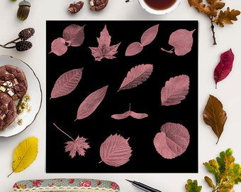 LEAVES FALLING, Rose Leaf Clipart, Rose Gold Leafing Foil Overlays, For Greeting Cards, Wall Decor, Scrapbooking, Coupon Code: BUY5FOR8