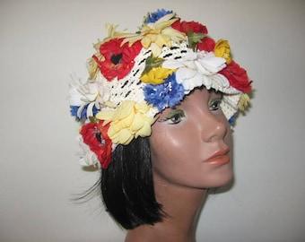 1960's Woven Jute Flower Cap, MOD!