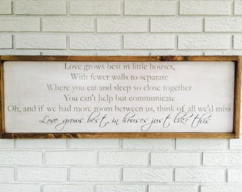 Love Grows Best in Little Houses Sign, Framed Wood Sign, Tiny House Sign, Small House Sign, Little House Decor, Tiny Home Decor