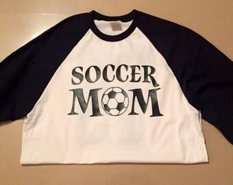 Soccer mom raglan baseball shirt, soccer mom tee, soccer, mom shirt