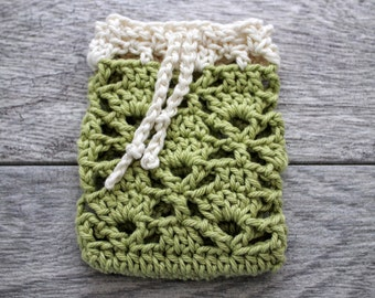 Cotton Soap Saver in colors of Green and White - Crochet Soap Bag - Soap Sack - Soap Cozy - Soap Envelope