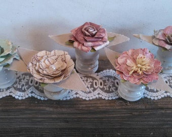 Flower Table Decorations Rustic Shabby Chic Vintage Wedding Valentine's Day Insulator Farmhouse Mother's Day Gift