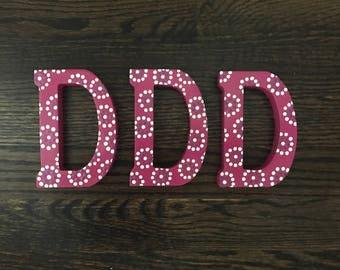 Small Wooden Flower Dot Letters