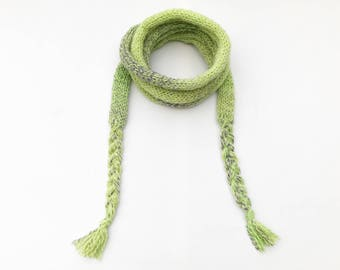 Sherbet Green Spaghetti Scarf - Light Green Thin Scarf, comfortable easy-to-wear skinny scarf! Spring scarves Bright Lime Green Spring scarf