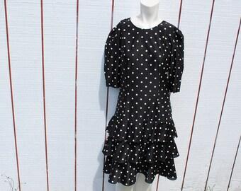 Vintage 1980s polka dot dress women's size M