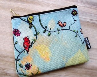 Coin purse / pouch printed birds Islands