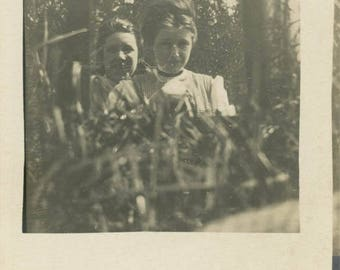 photo vintage Women Look Reflection in Mirror in Grass Unusual Abstract RPPC