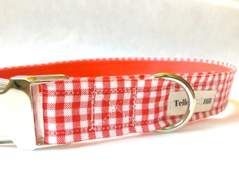 Red Gingham Dog Collar - Red Plaid Dog Collar - Gingham Dog Collar - Preppy Boy Dog Collar - Preppy Girl Dog Collar - Red Checker Collar