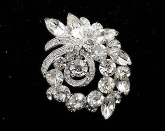 "Eisneberg ICE Sparkling Rhinestone Swag Vintage Brooch - Designer Signed - Estate Jewelry - 2 1/2"" Tall - Chatons & Marquis Stones"