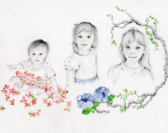 Family Pencil Portraits Daughters Portrait Custom Portraits Personalized Portraits Gift for Mom Hand Drawn One of a Kind Portrait Kids Room