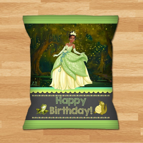 Princess and the Frog Chip Bag Labels - Chalkboard - Frog Princess Chip Bag Label - Princess Tiana Chip Bag Label - Princess Party Printable