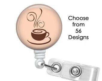 Coffee Badge Reel, ID Badge Holder clip, Medical Badge Reel, java Badge Reel, expresso Badge Reel,  caffeine badge reel clip