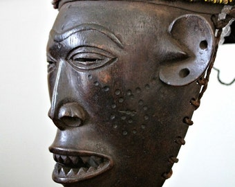 Compelling Lwena Pwo Face Mask with Beaded Leather Helmet– Headdress / African Art (Dem. Rep. Congo)