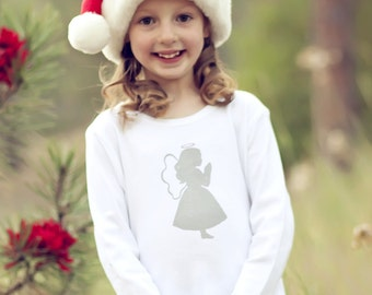 Little Angel Long Sleeved Nostalgic Graphic Tee in White with Silver