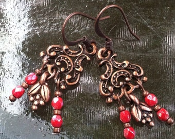 Copper & Coral Czech Glass Chandelier Earrings
