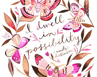 I Dwell in Possibility | Wall Art | Watercolor Painting | Emily Dickinson Quote|  Katie Daisy