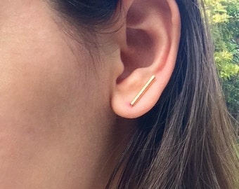 Ear cuff, gold ear cuff, ear climber, ear climbers, ear climber earrings gold ear climber, silver ear climber, ear climber gold, bar earring