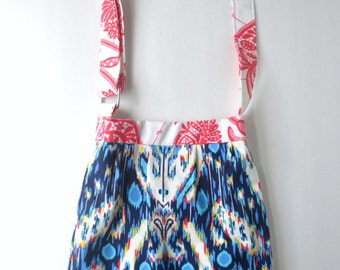 """Girls Purse - Adjustable, Girl on the Go"""" Bag in Amy Butler ikat and floral prints - READY TO SHIP"""