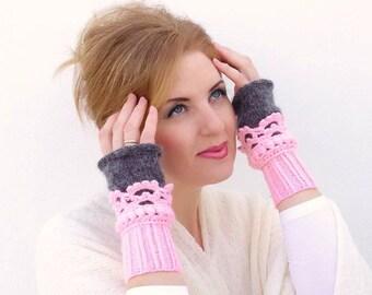 Fingerless mittens Crochet, knit, Arm Wrist Warmers, Light Pink Gray, Grey. Knit mittens. Knitted cuffs.