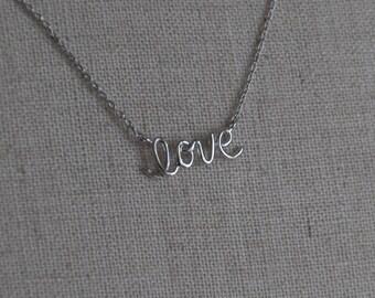 Love Pendant Necklace - Silver