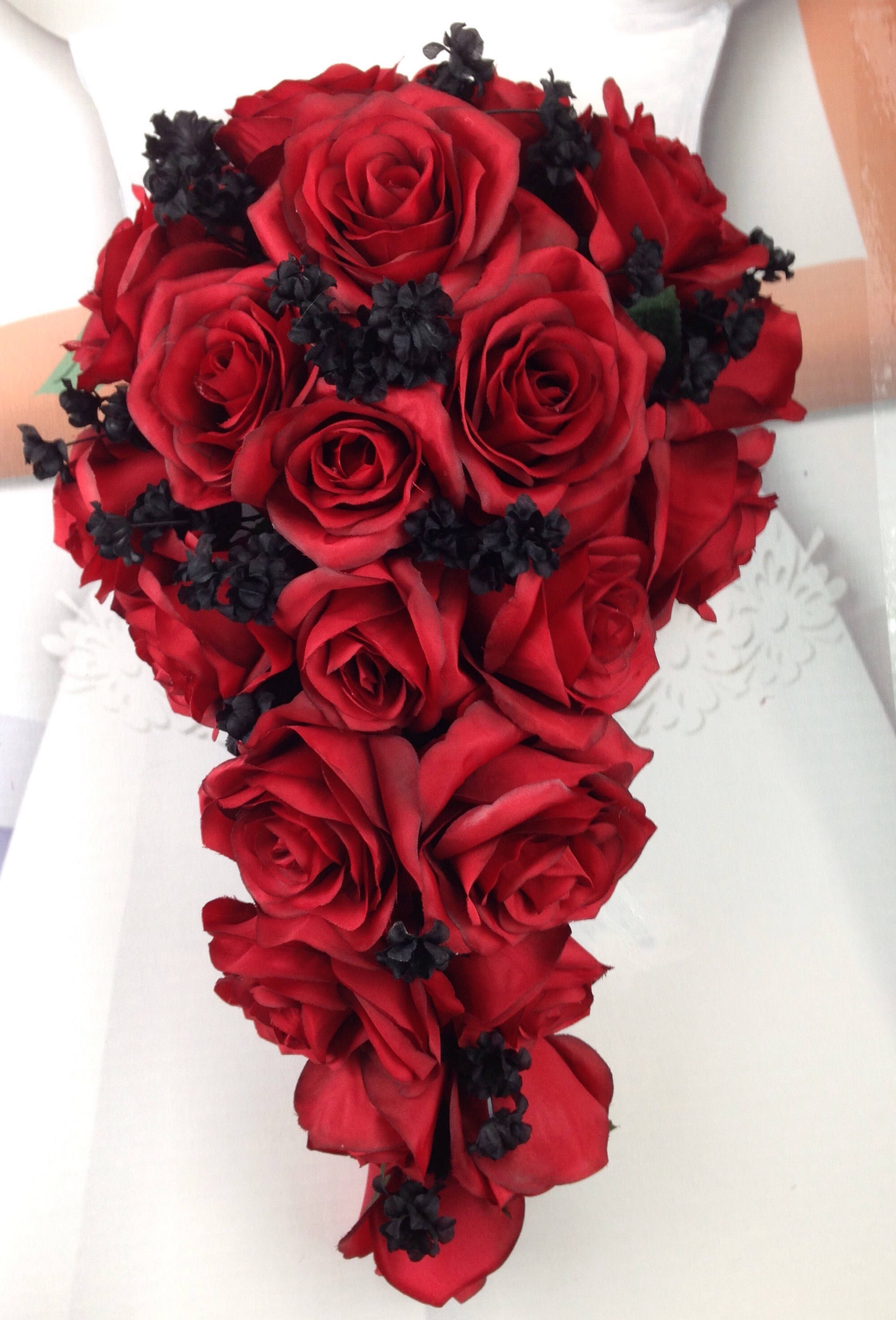 New artificial red and black wedding teardrop bouquet 15 in length new artificial red and black wedding teardrop bouquet 15 in length black babys breath and red bridal bouquet izmirmasajfo