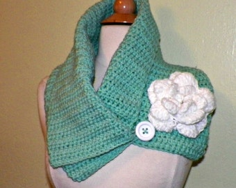 Blue Cowl Scarf Infinity Button Neckwarmer Collar  With Flower Brooch Freeform Crochet