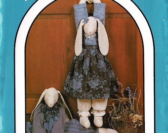 Easter Bunny Rabbit Pattern Dream Spinners 1988 Grand Rabbits #155, Floppy Bunnies 30 inch Draft Stopper Bunny & Clothes, Vintage Home Decor