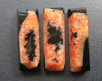 AS PICTURED- 3pcs Black Orange Druzy Agate Rectangle Long Stick Pendant 22x60x12mm- top drilled