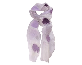 Nuno Felted Silk Scarf in White with Shades of Purple