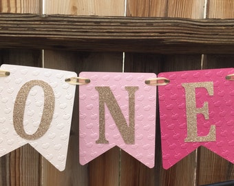Pink High Chair ONE Banner, Happy Birthday Banner, First Birthday, Pink Ombre Birthday