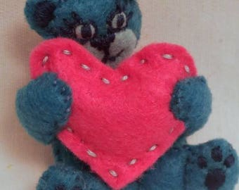 Blue bear with pink heart pin/brooch