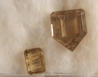 2 Golden Rutilated Quartz Cabochons Item SL  RQ