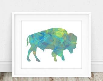 Buffalo Print - Buffalo Wall Art, Modern Buffalo Print, Bison Print, Buffalo Art Print, Buffalo Printable, American Buffalo, Bison Wall Art