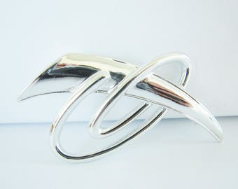 Vintage abstract silver swirl brooch (I5)