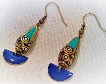 Earrings ethnic Turquoise and blue Nepal Tibet