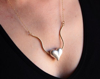 Heart Necklace Sterling Silver Necklace Gift for Her Dainty Necklace Anniversary Gifts for Women Necklaces for Women Handmade Jewelry