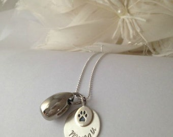 Pet Memorial Sterling Silver Necklace with Stainless Steel Cremation Urn Pendant and Sterling Silver Paw Print and name pendant