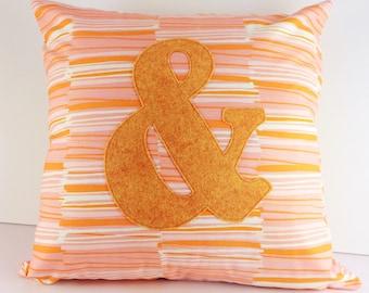 Orange, pink and cream modern ampersand cushion cover | Home Decor | Applique Cushion | Throw Pillow