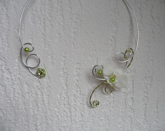 Collar flowers for bride or witness - white silver and lime green