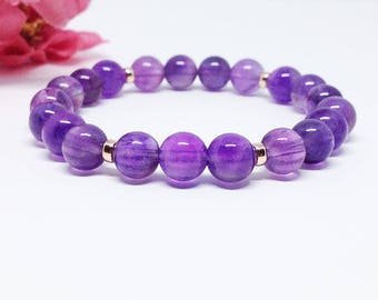 Amethyst Bracelet 8mm • Crystal Bracelet Healing • Mala Beads Bracelet • Amethyst Mala Bracelet • Rose Gold Amethyst • Healing Bracelet
