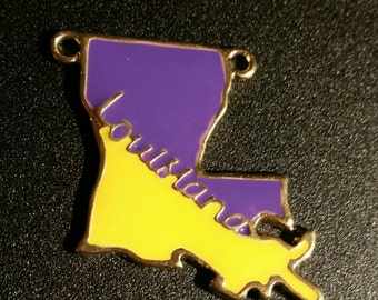 Purple and Yellow Enamel Louisiana State Pendant