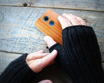 Mens black fingerless gloves
