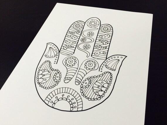 Erwachsene Malvorlagen hand gezeichneten Hamsa