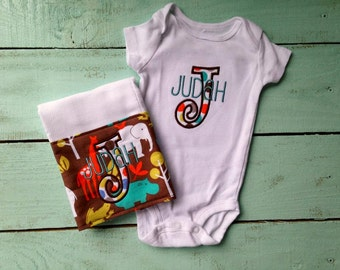 Baby Boy Gift Set, Boy Onesie and Burp Cloth, Baby Boy Gift, Boy Onesie, Boy Burp Cloth