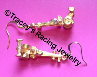 NHRA top fuel dragster earrings gold tone  Tracey's Racing Jewelry exclusive item
