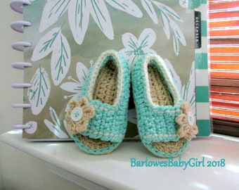 NEW - Buggs - Crochet Girl's Side Button Closure w/ Flower Accent Sandal in Aqua - Customize Your Color